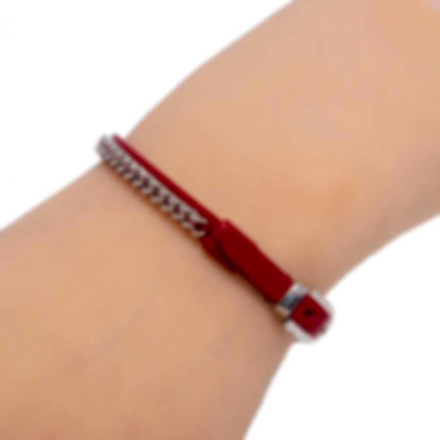 Ferragamo Gancini Sterling Silver And Leather Bracelet 705348