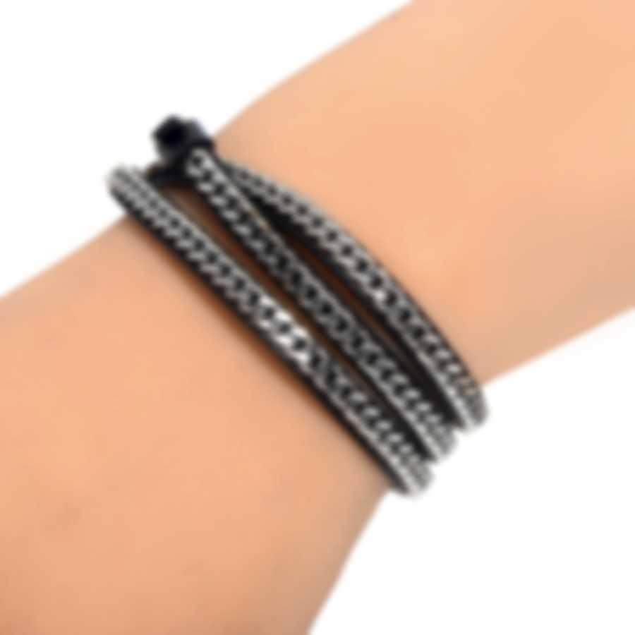 Ferragamo Gancini Sterling Silver And Leather Bracelet 705352