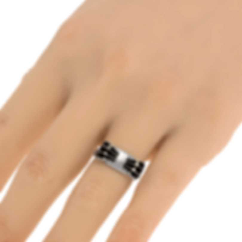 Ferragamo Vara Sterling Silver And Enamel Ring Sz 4.25 705364