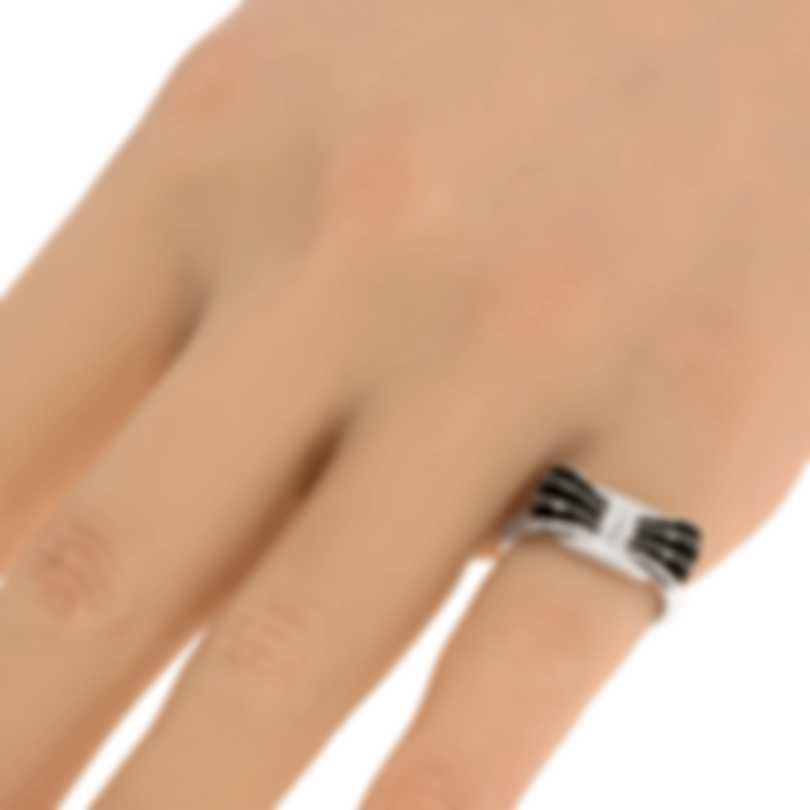 Ferragamo Vara Sterling Silver And Enamel Ring Sz 5.25 705365
