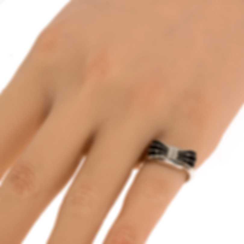 Ferragamo Vara Sterling Silver And Enamel Ring Sz 6 705366