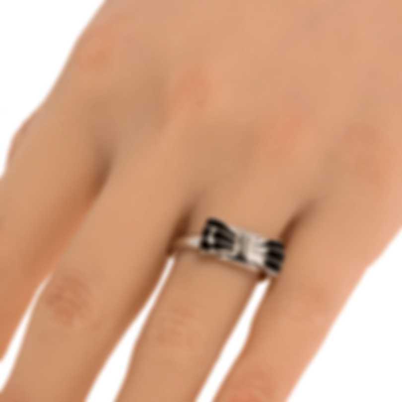 Ferragamo Vara Sterling Silver And Enamel Ring Sz 8.5 705369