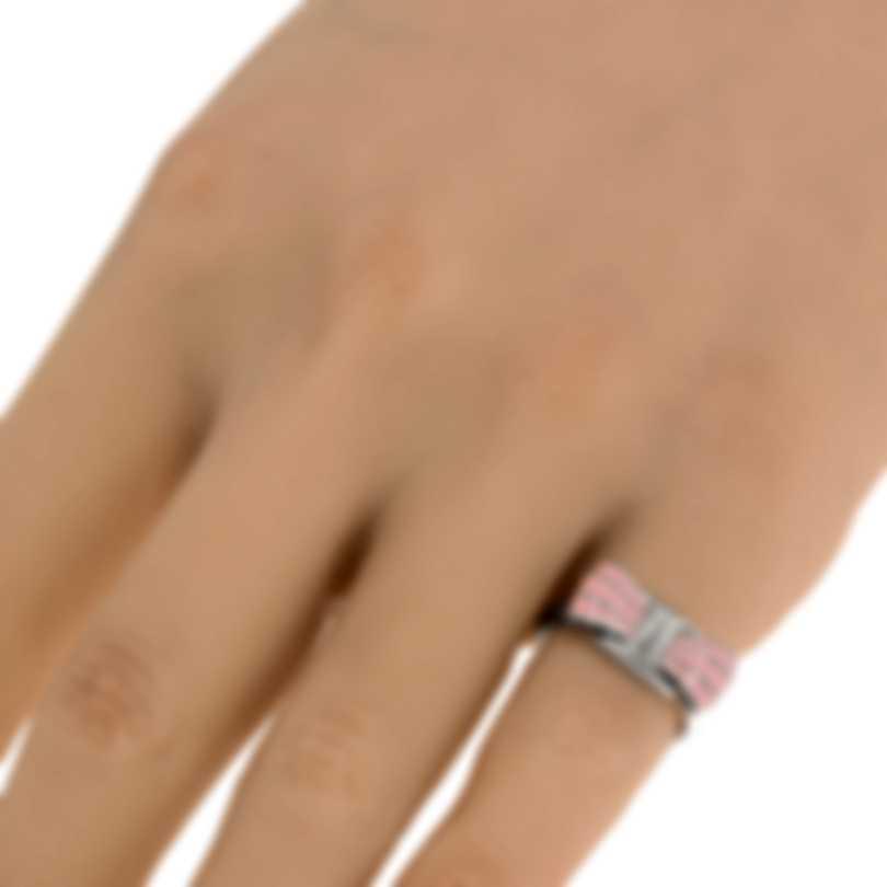Ferragamo Vara Sterling Silver And Enamel Ring Sz 4.25 705370