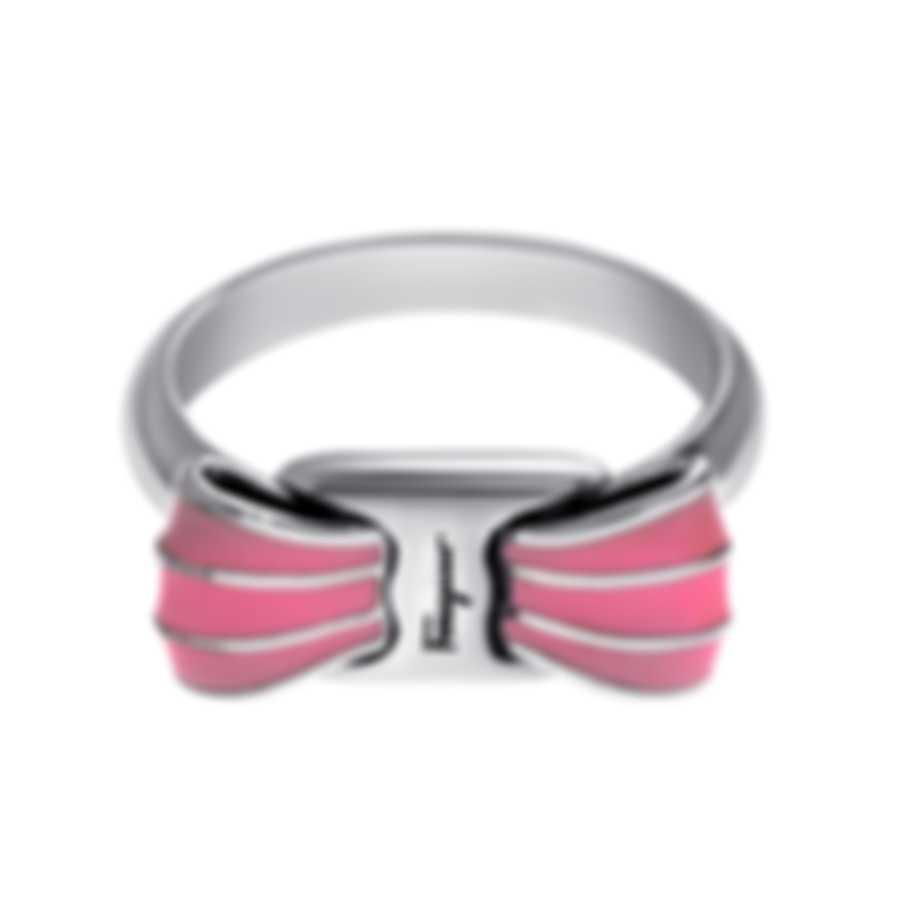 Ferragamo Vara Sterling Silver And Enamel Ring Sz 5 705371