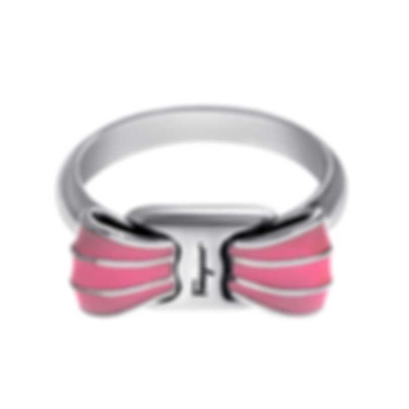 Ferragamo Vara Sterling Silver And Enamel Ring Sz 6 705372