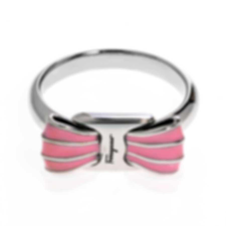 Ferragamo Vara Sterling Silver And Enamel Ring Sz 6.75 705373