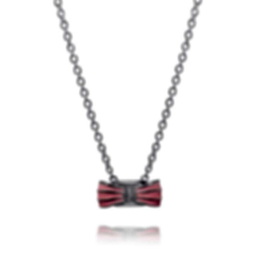 Ferragamo Vara Sterling Silver And Enamel Necklace 705377