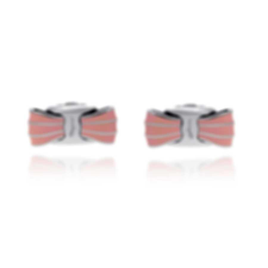 Ferragamo Vara Sterling Silver And Enamel Earrings 705384