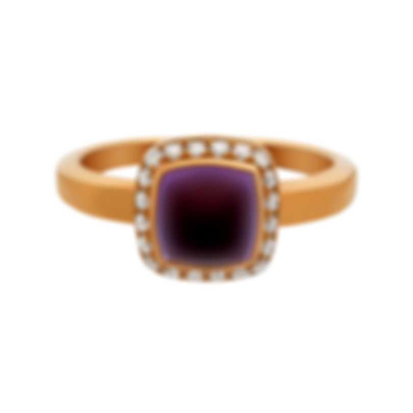 Fred Of Paris Gold Diamond 0.15ct Amethyst Pain De Sucre Ring 4B0684