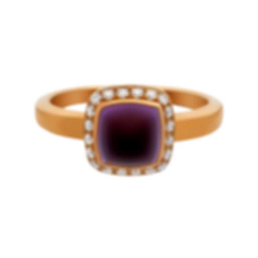 Fred Of Paris Gold Diamond 0.15ct Amethyst Pain De Sucre Ring Sz 6.75 4B0684-054