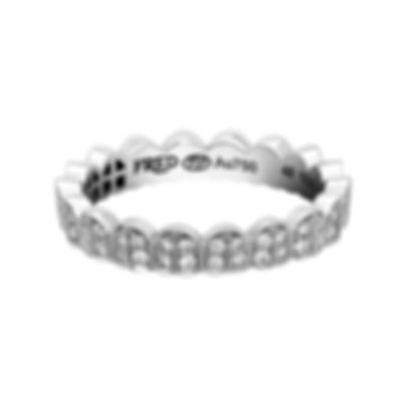 Fred Of Paris 18k White Gold Diamond 0.28ct Une Ile D'or Ring 4B0779