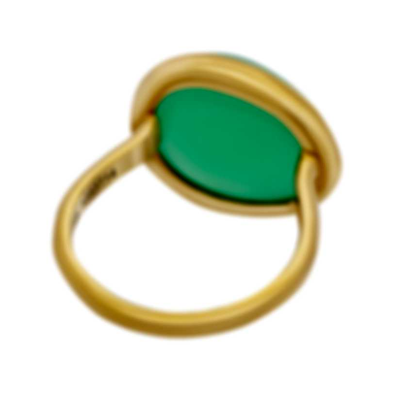 Fred Of Paris 18k Yellow Gold And Chrysoprase Belles Rives Ring 4B0810