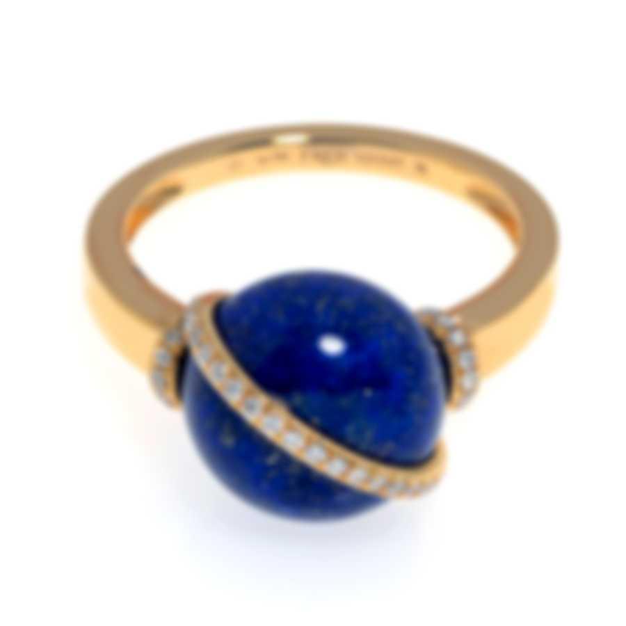 Fred Of Paris Baie Des Anges 18k Yellow Gold Diamond & Lapis Lazuli Ring Sz 6.5