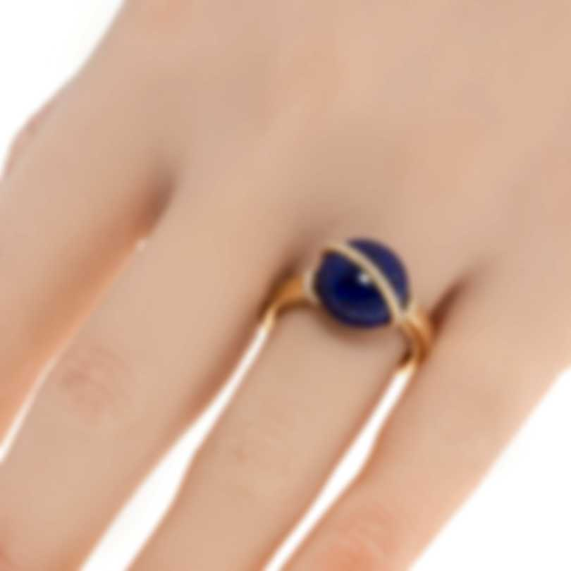 Fred Of Paris Baie Des Anges 18k Yellow Gold Diamond & Lapis Lazuli Ring Sz 7.5