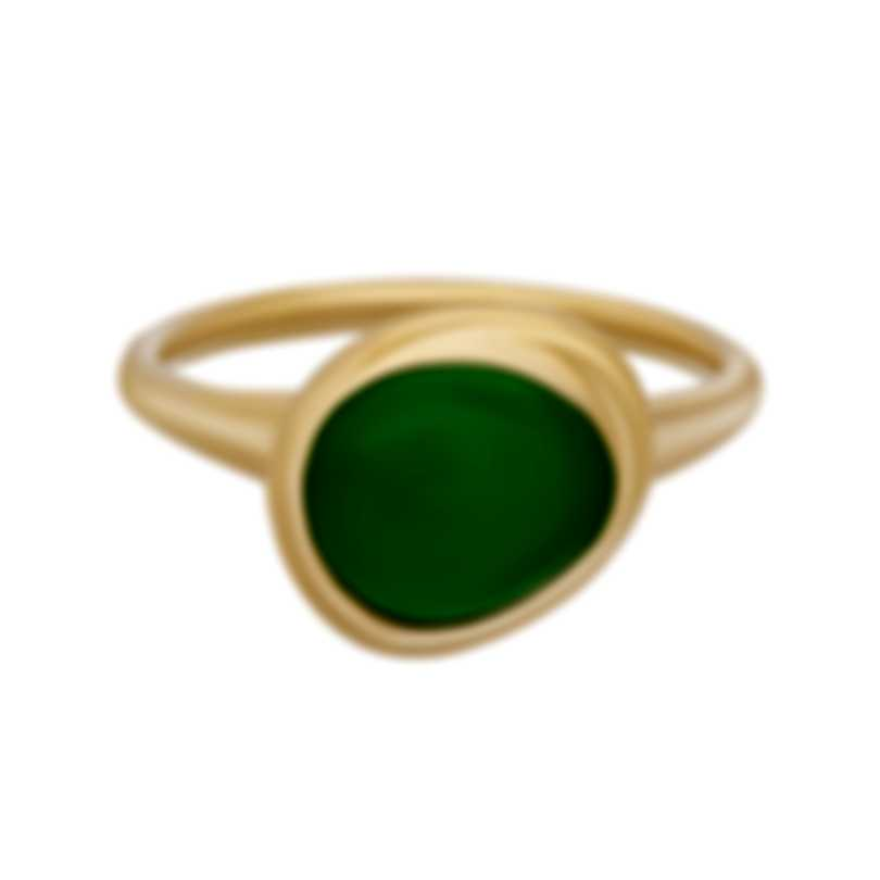 Fred Of Paris 18k Yellow Gold And Chrysoprase Belle Rives Ring Sz5.75 4B0922-051-1