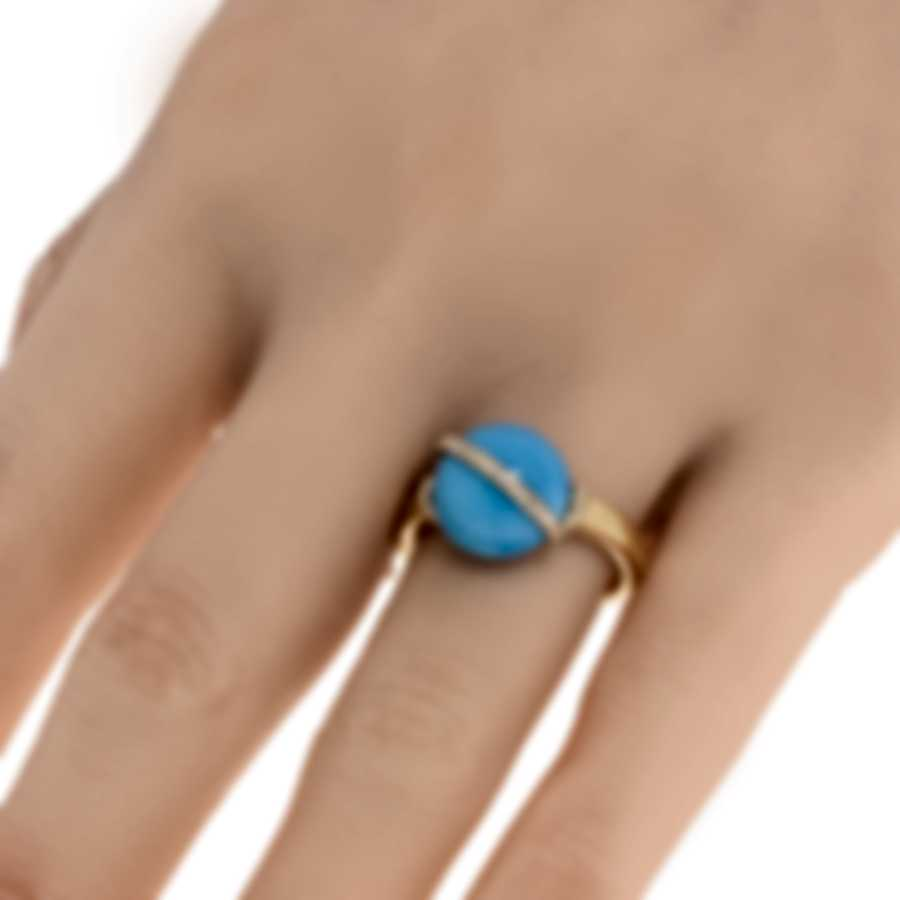 Fred Of Paris Baie Des Anges 18k Yellow Gold Diamond & Turquoise Ring Sz 4.25