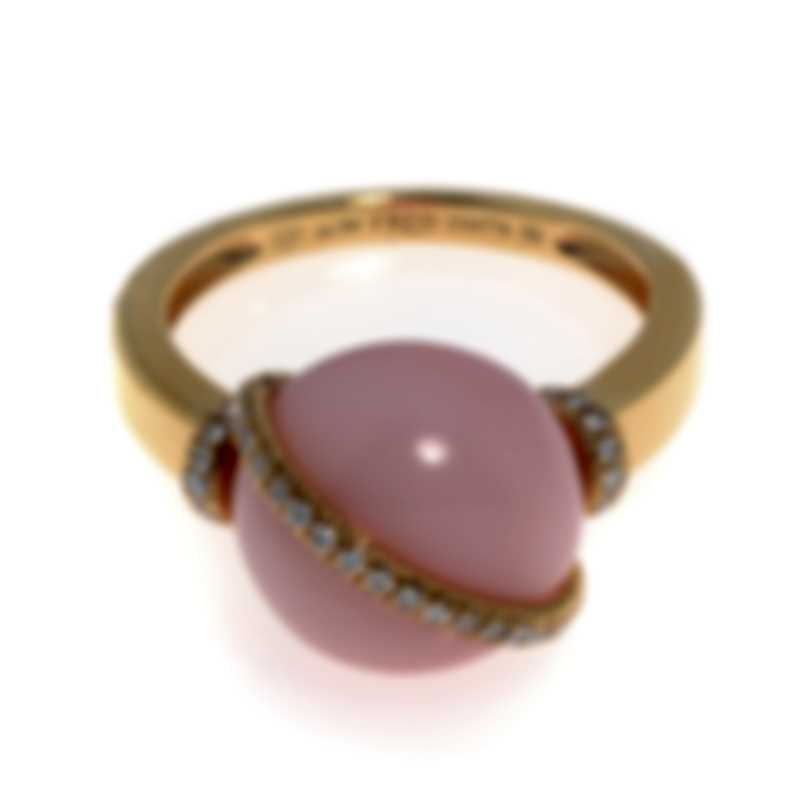 Fred Of Paris Baie Des Anges 18k Yellow Gold Diamond & Pink Opal Ring 8 4B0932
