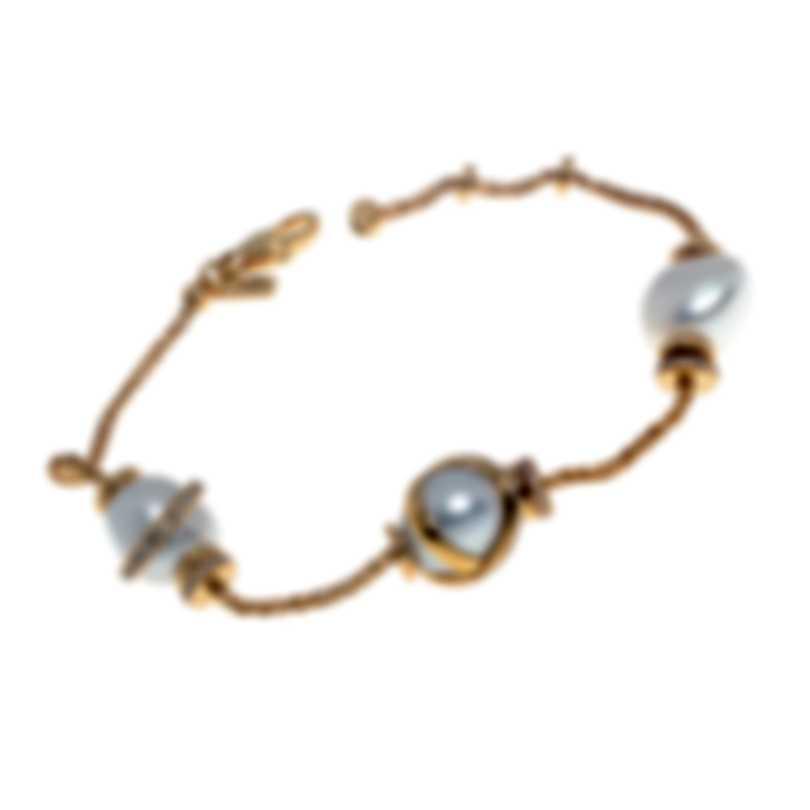 Fred Of Paris Baie Des Anges 18k Yellow Gold Diamond & Pearl Bracelet 6B0246-000