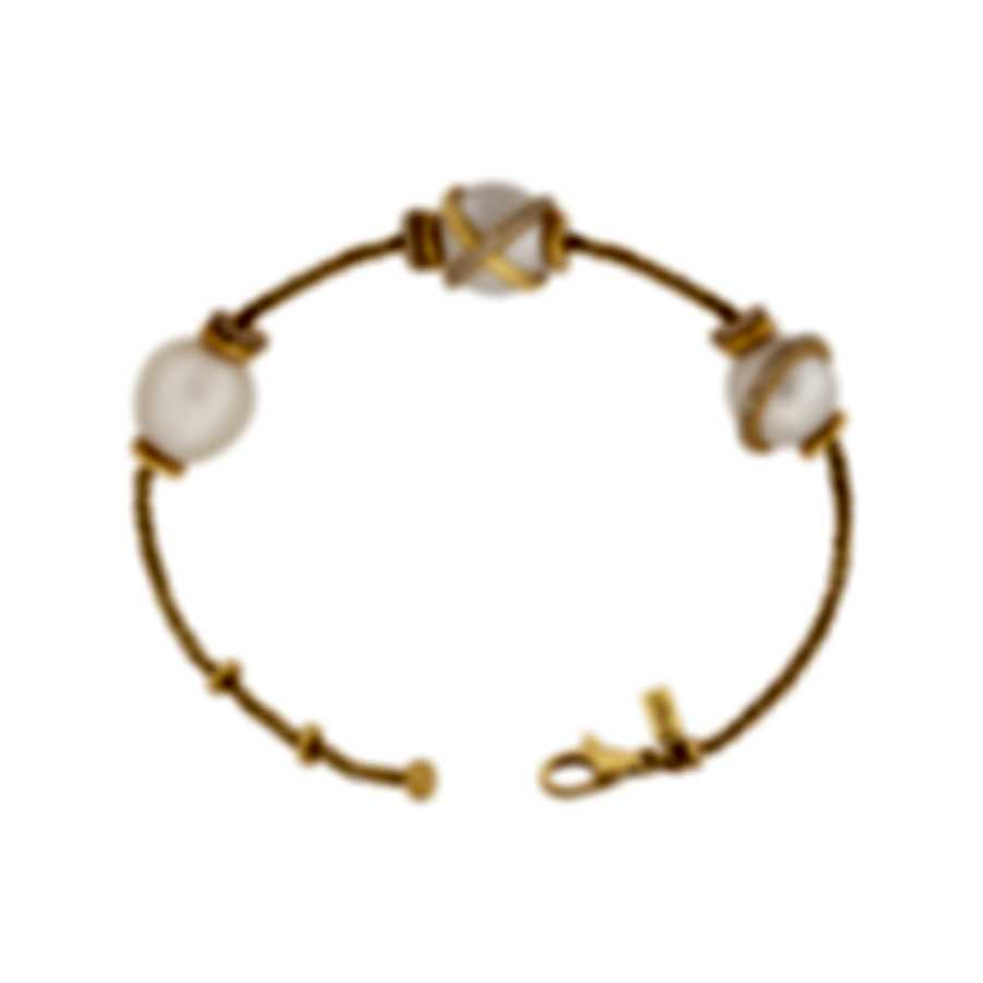 Fred Of Paris 18k Gold Diamond 0.46ct Pearl Baie Des Anges Bracelet 6B0246-000