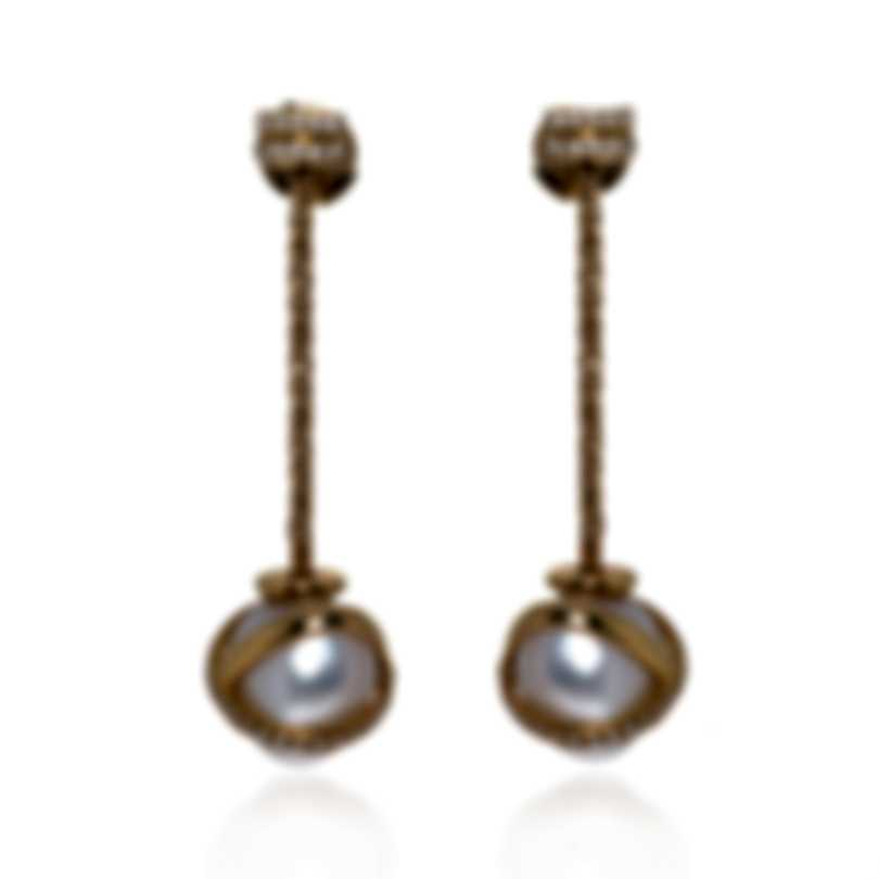 Fred Of Paris Baie Des Anges 18k Yellow Gold Diamond & Pearl Earrings 8B0129-000