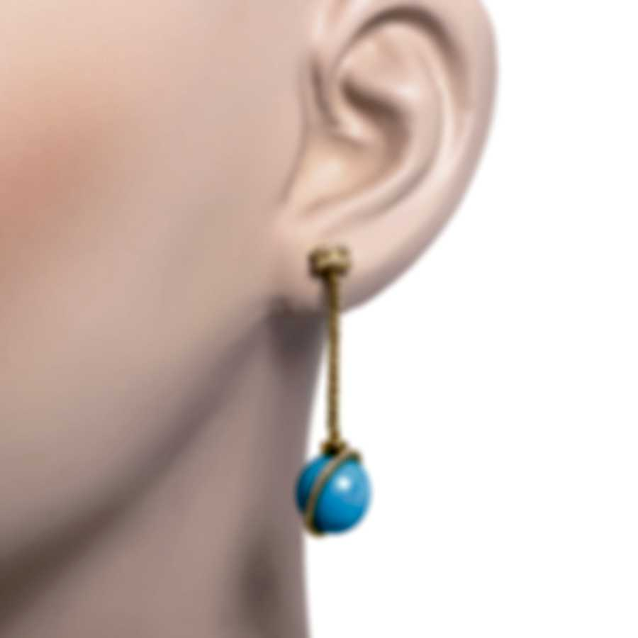 Fred Of Paris Baie Des Anges 18k Yellow Gold Diamond & Turquoise Earrings 8B0283