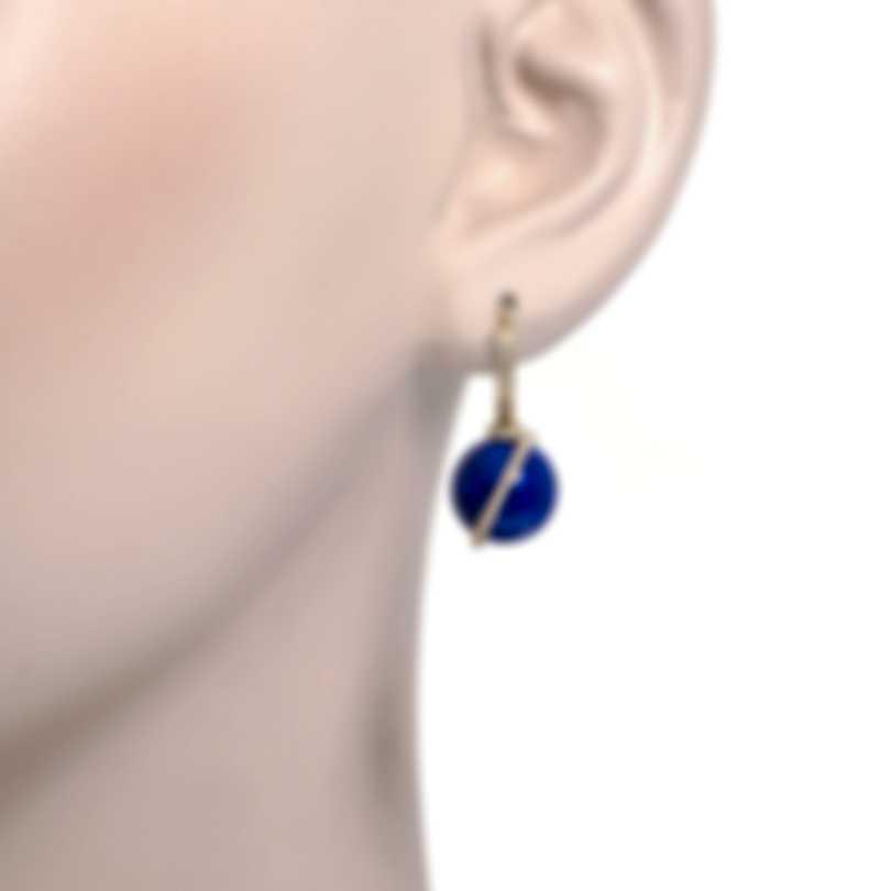 Fred Of Paris Baie Des Anges 18K Yellow Gold Diamond & Lapis Lazuli Earrings