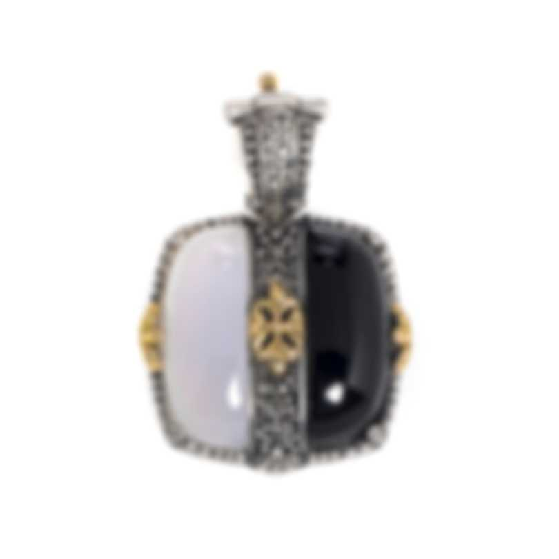 Konstantino Sterling Silver And 18k Yellow Gold And Agate Pendant MEKJ676-457