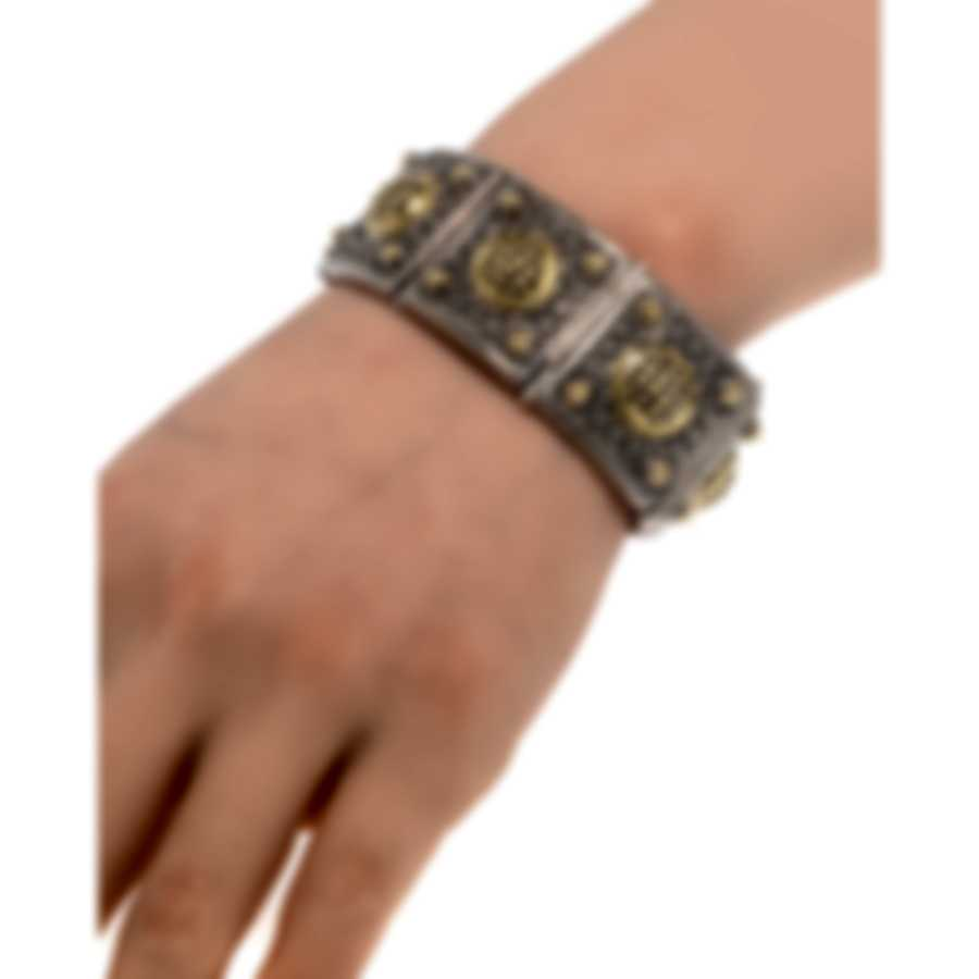 Konstantino Arsinoe Sterling Silver & 18k Yellow Gold Diamond 3.08ct Bracelet