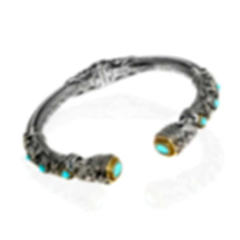 Konstantino Sterling Silver & 18k Yellow Gold & Turquoise Bracelet BKJ619-137