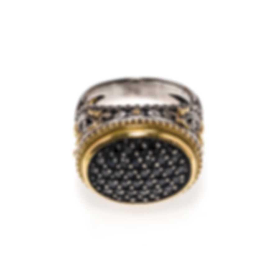 Konstantino Arsinoe Sterling Silver & 18k Yellow Gold Diamond 0.66ct Ring Sz 8