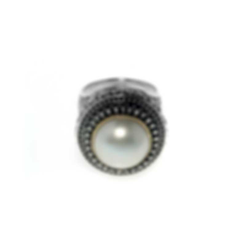 Konstantino Kassandra Sterling Silver & 18k Yellow Gold & Pearl Ring Sz 7 DKJ521