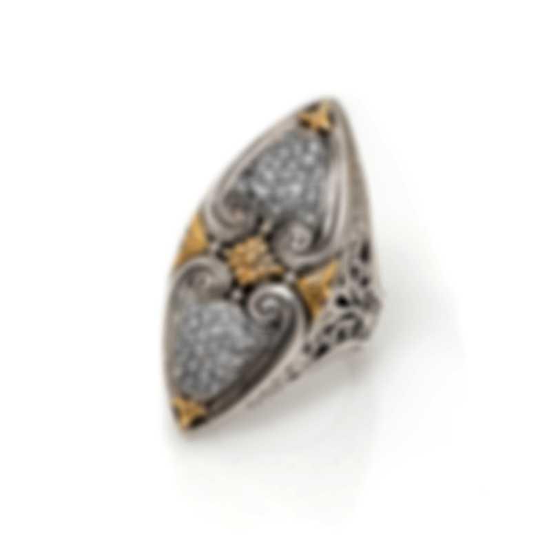 Konstantino ASTERI Sterling Silver Pave Diamonds .49ct Ring Sz 7 DKJ608-109