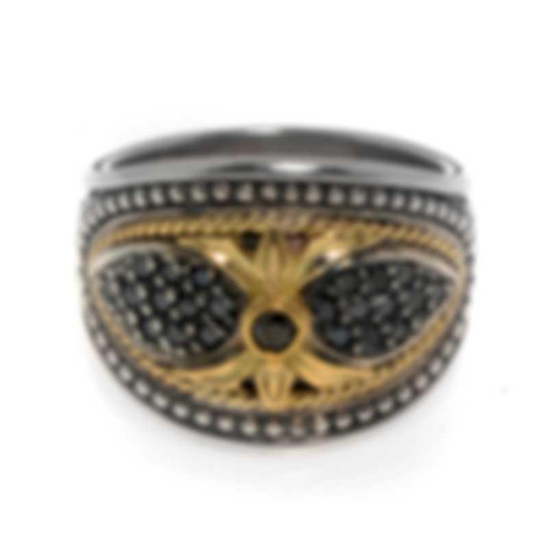 Konstantino Asteri Sterling Silver & 18k Yellow Gold Diamond Ring Sz 7 DKJ614