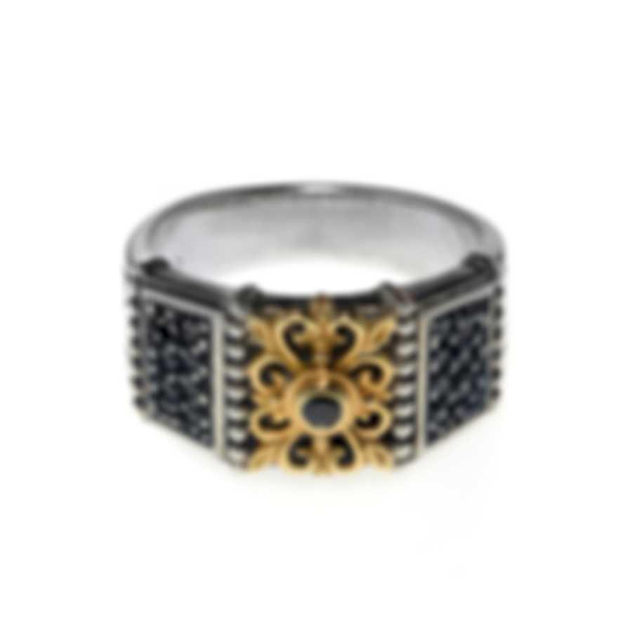 Konstantino Asteri Sterling Silver & 18k Yellow Gold Diamond Ring Sz9 DKJ615-110