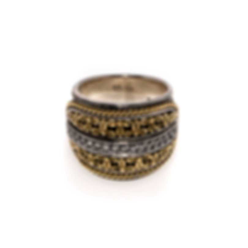 Konstantino Asteri Sterling Silver & 18k Yellow Gold Diamond 0.23ct Ring Sz 7