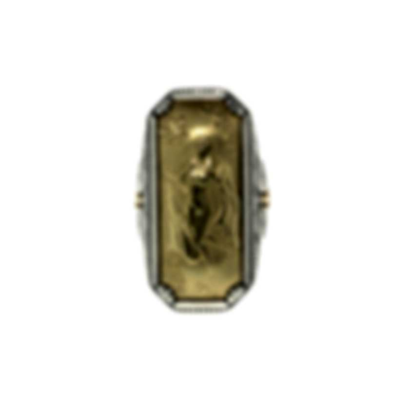 Konstantino Gaia Sterling Silver And 18k Yellow Gold Ring Sz 7 DKJ771-130