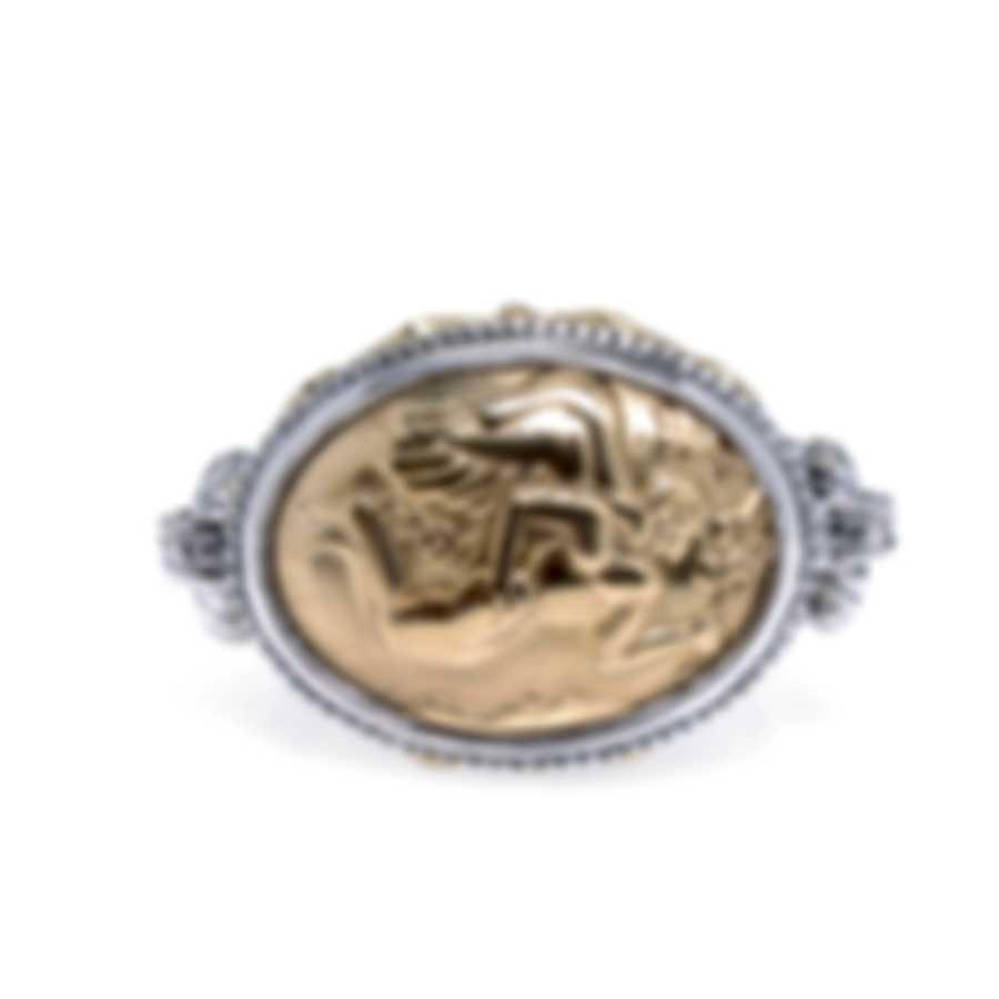 Konstantino Gaia Sterling Silver & 18K Yellow Gold Ring Sz 7 DKJ774-130
