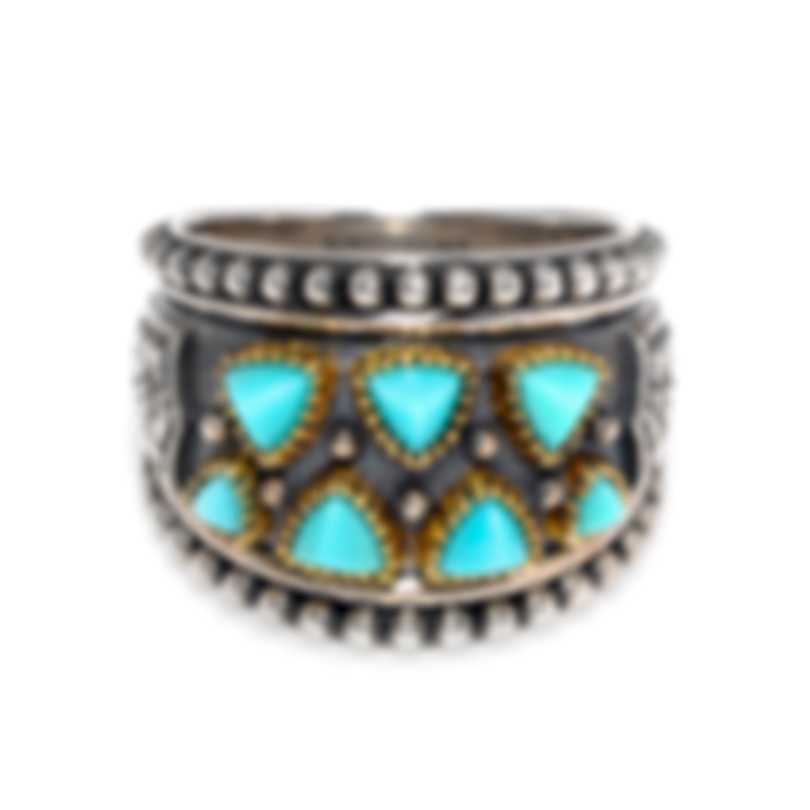 Konstantino Sterling Silver & 18k Yellow Gold & Turquoise Ring Sz 7 DKJ860-137S7