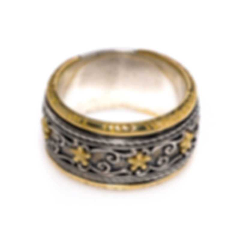 Konstantino Sterling Silver And 18k Yellow Gold Ring Sz 8 DKJ871-130S8