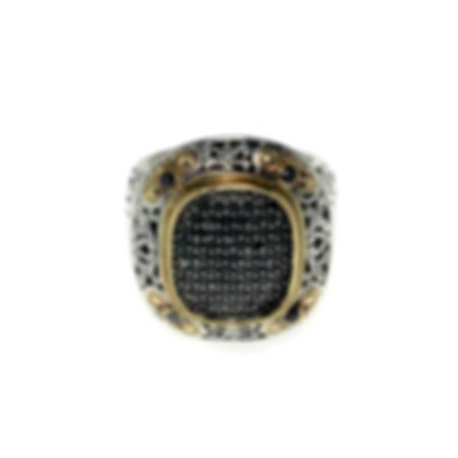 Konstantino Arsinoe Sterling Silver & 18k Gold Diamond 0.69ct Ring Sz8.5 DMK1892