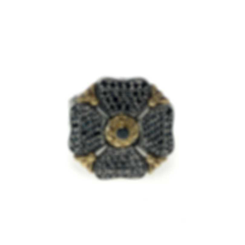 Konstantino Arsinoe Sterling Silver & 18k Gold Diamond 1.40ct Ring Sz 7 DMK1975