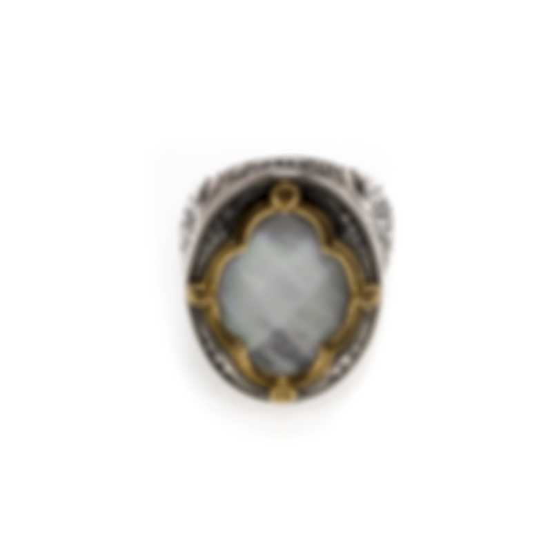Konstantino Sterling Silver & 18k Yellow Gold & Mother Of Pearl Ring Sz 7