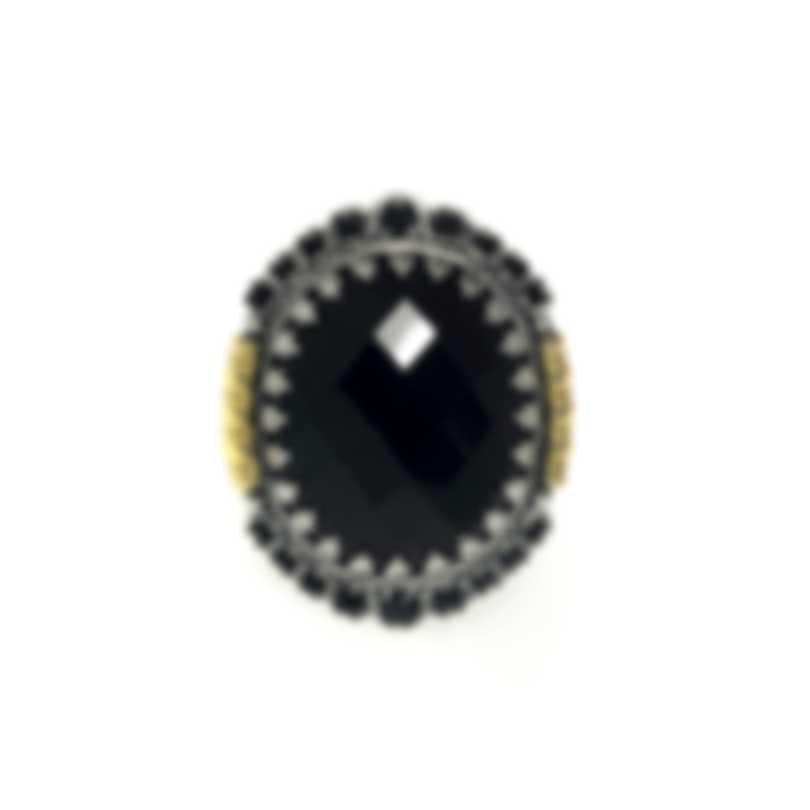 Konstantino Sibylla Sterling Silver, 18k Gold, Onyx & Spinel Ring S7 DMK2013-314