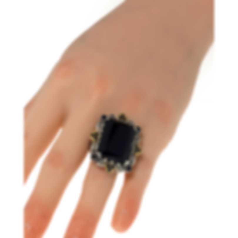 Konstantino Sibylla Sterling Silver & 18k Gold & Onyx Ring Sz 7 DMK2015-314-CUT