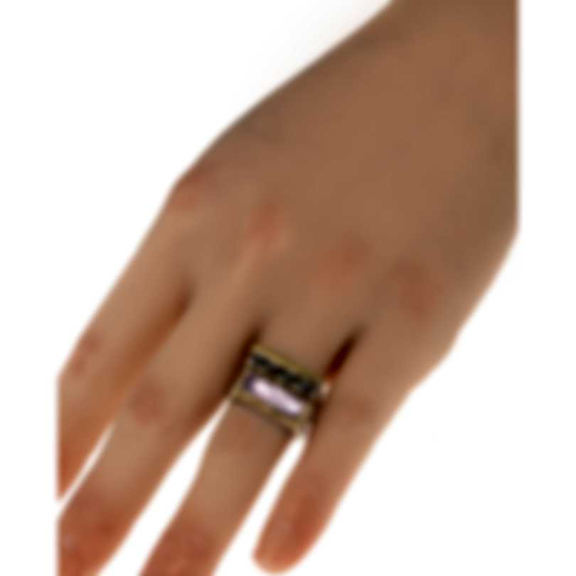 Konstantino Sterling Silver & 18k Gold & Pink Mother Of Pearl Ring Sz 6 DMK2051