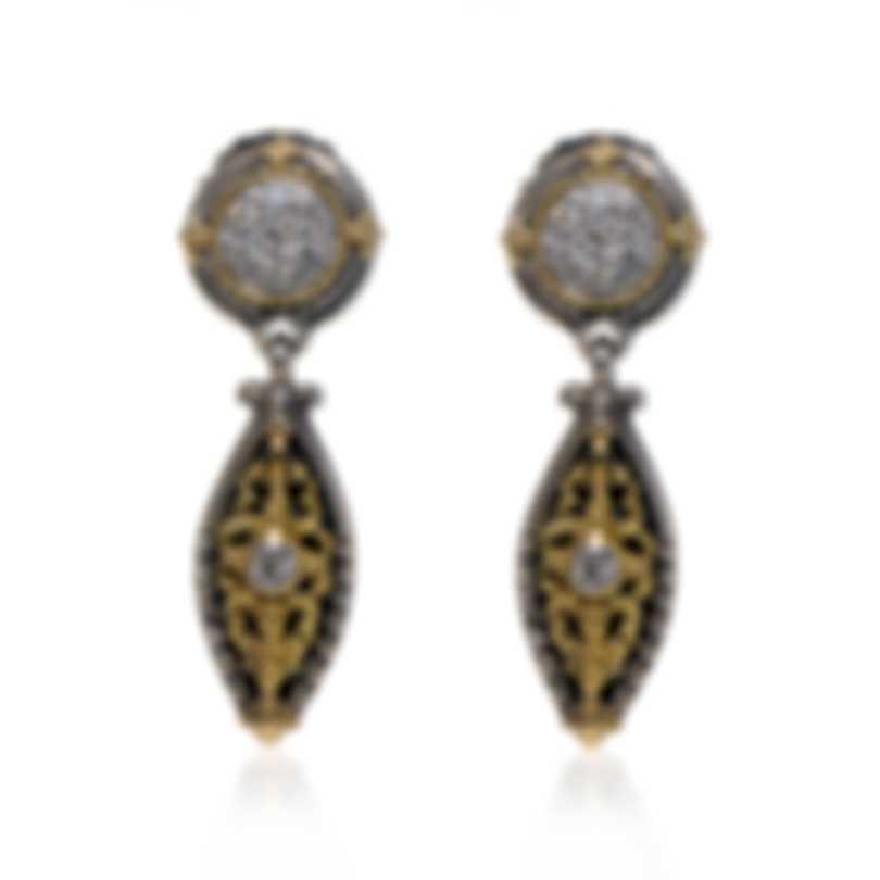 Konstantino Asteri Sterling Silver & 18k Yellow Gold Diamond Earrings SKKJ550-10