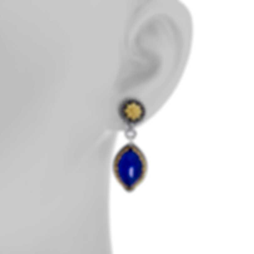 Konstantino Sterling Silver & 18k Yellow Gold & Lapis Earrings SKKJ600-130-381