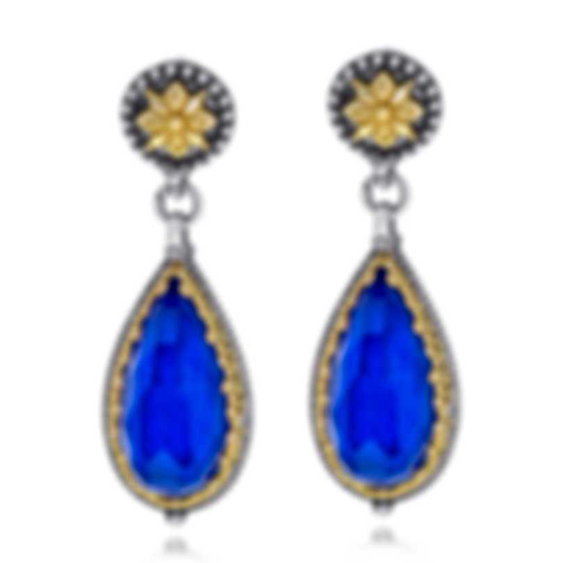 Konstantino Sterling Silver & 18k Yellow Gold & Lapis Earrings SKKJ601-130-381