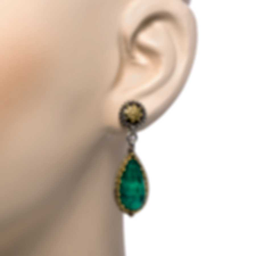 Konstantino Sterling Silver & 18k Yellow Gold & Malachite Earrings SKKJ601-130-3