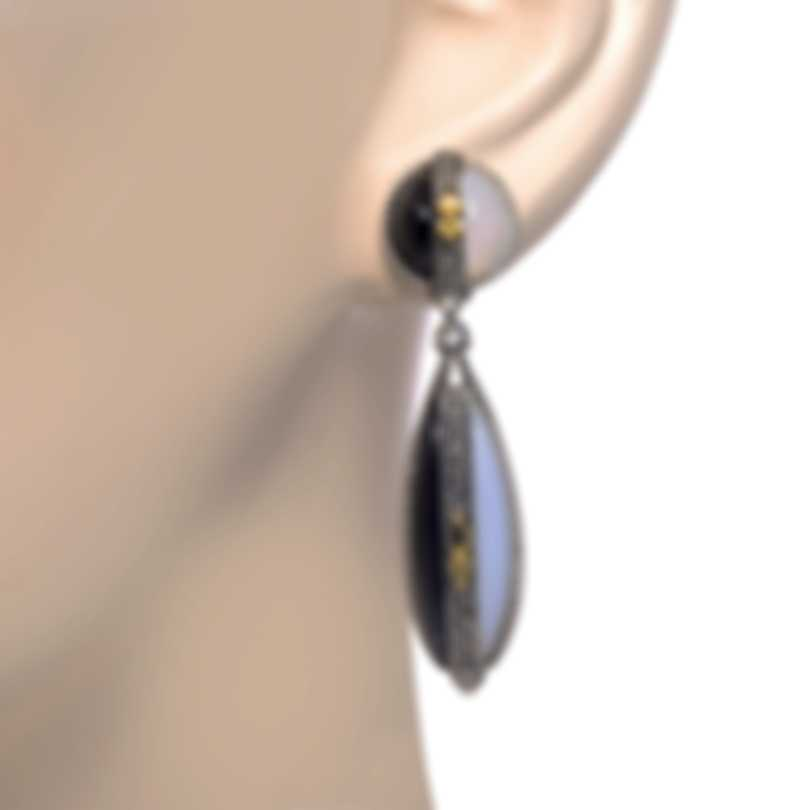 Konstantino Sterling Silver And 18k Yellow Gold And Agate Earrings SKKJ632-457